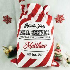 Personalised Santa Candy Cane Christmas Sack 60cm