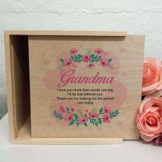 Grandma Personalised Wooden Gift Box - Rosy Hearts