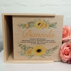 Birthday Personalised Wooden Gift Box - Sunflower