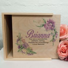 Personalised Wooden Gift Box - Vintage Floral