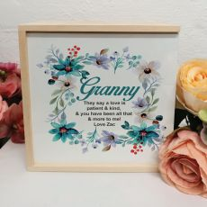 Grandma Personalised Keepsake Box - Blue Floral