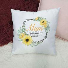 Personalised Mum Cushion Cover - Sunflower