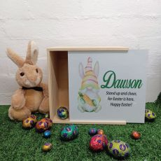 Personalised Easter Box Medium White Lid - Easter Gnome