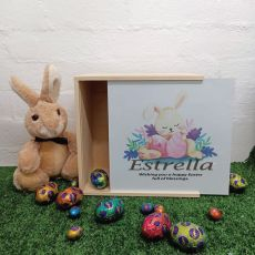 Personalised Easter Box Medium White Lid - Sleeping Bunny