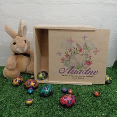 Wooden Easter Box Medium - Butterfly Bunny