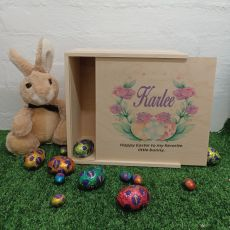 Personalised Wooden Easter Box Medium - Easter Rose