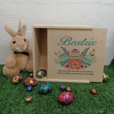 Personalised Wooden Easter Box Medium - Floral Eggs