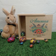 Personalised Wooden Easter Box Small - Floral Eggs