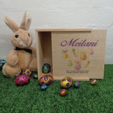 Personalised Wooden Easter Box Small - Hanging Eggs