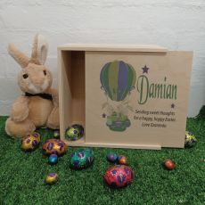 Personalised Easter Box Medium Wood - Air Balloon