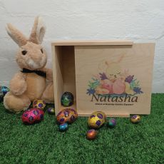 Personalised Easter Box Small Wood - Sleeping Bunny
