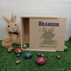 Personalised Easter Box Medium Wood - Tribal Bunny