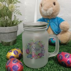 Easter Mason Drink Jar w/straw - Pink Eggs