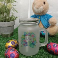 Easter Mason Drink Jar Mug w/straw - Blue Eggs