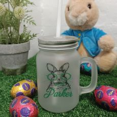 Easter Mason Drink Jar Mug w/straw - Glasses Rabbit