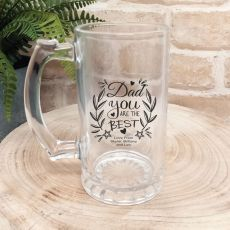 Dad Personalised Glass Beer Stein