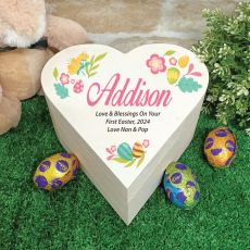 Wooden Easter Heart Box - Coloured Eggs