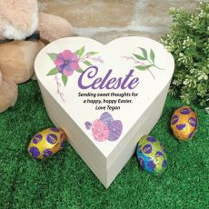 Wooden Easter Heart Box - Purple Eggs