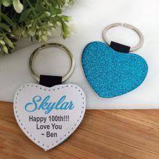 100th Birthday Blue Glittered Leather Heart Keyring