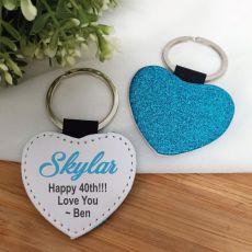 40th Birthday Blue Glittered Leather Heart Keyring