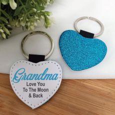 Grandma Blue Glittered Leather Heart Keyring