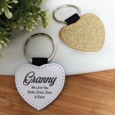 Grandma Gold Glittered Leather Heart Keyring
