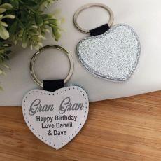 Grandma Silver Glittered Leather Heart Keyring