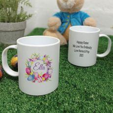 Personalised Easter Melamine Mug - Pink Eggs