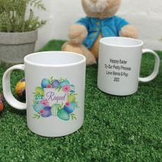 Personalised Easter Melamine Mug - Blue Eggs