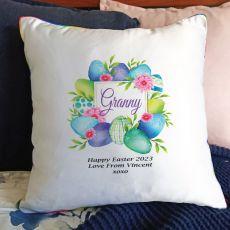 Grandma Easter Cushion Cover - Blue Eggs
