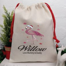 Personalised Christmas Sack 40cm  - Flamingo