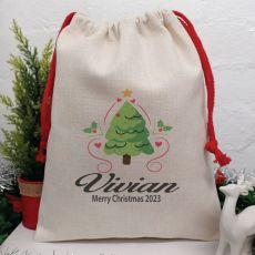 Personalised Christmas Sack 40cm  - Heart Tree