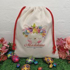 Personalised Easter Sack Hunt Bag 40cm  - Flower Bunny