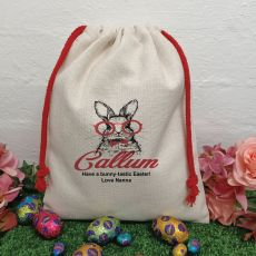 Personalised Easter Sack Hunt Bag 40cm  - Hipster Bunny
