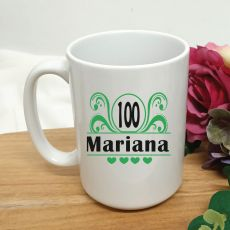 100th Birthday Personalised Coffee Mug - Swirl 15oz