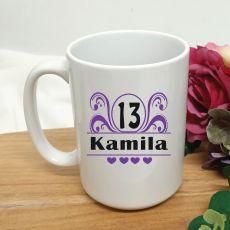 13th Birthday Personalised Coffee Mug - Swirl 15oz