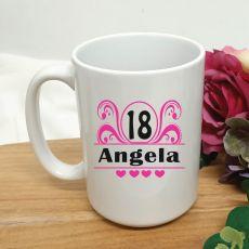 18th Birthday Personalised Coffee Mug - Swirl 15oz