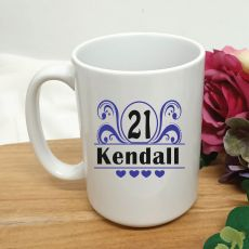 21st Birthday Personalised Coffee Mug - Swirl 15oz