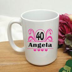 40th Birthday Personalised Coffee Mug - Swirl 15oz