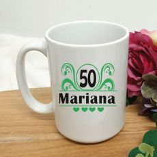 50th Birthday Personalised Coffee Mug - Swirl 15oz