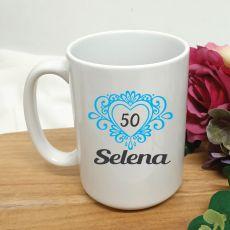 50th Birthday Personalised Coffee Mug Filigree Heart 15oz