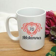 70th Birthday Personalised Coffee Mug Filigree Heart 15oz