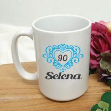 90th Birthday Personalised Coffee Mug Filigree Heart 15oz