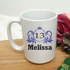 Personalised 13th Birthday Princess Coffee Mug 15oz