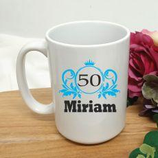 Personalised 50th Birthday Princess Coffee Mug 15oz
