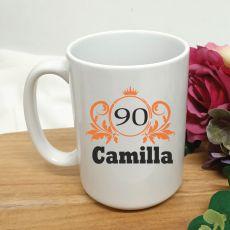 Personalised 90th Birthday Princess Coffee Mug 15oz