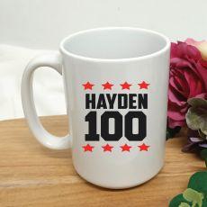 Personalised 100th Birthday Coffee Mug 15oz Star