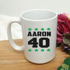 Personalised 40th Birthday Coffee Mug 15oz Star