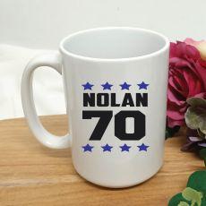 Personalised 70th Birthday Coffee Mug 15oz Star