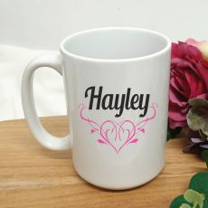 Personalised Coffee Mug 15oz - Swirl Heart